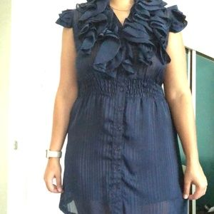 Agaci navy blue ruffle dress